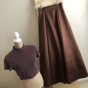 Caché vintage 2-pc beaded top, satin skirt gown